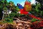 Colourful flying parrot in tropical landscape, фото № 6672324, снято 18 августа 2009 г. (c) Andrejs Pidjass / Фотобанк Лори