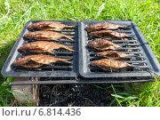 Копченая рыба домашнего приготовления лежит на решетке, фото № 6814436, снято 19 декабря 2014 г. (c) FotograFF / Фотобанк Лори