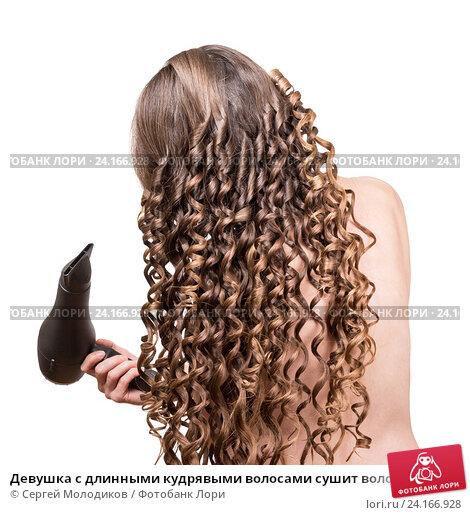 Девушка с длинными кудрявыми волосами сушит волосы феном; фото 24166928, фотограф Сергей Молодиков. Фотобанк Лори - Продажа фото