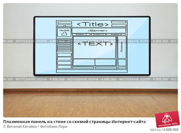 Плазменная панель на стене со схемой страницы Интернет-сайта; фотограф Виталий Китайко; дата съёмки 19 июня 2013 г...