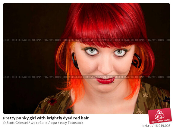 Pretty girl with red dyed