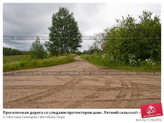 Проселочная дорога со следами протекторов шин.  Летний сельский пейзаж, фото 1163912, снято 8 июля 2009 г. (c)...