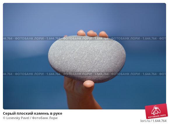 Серый плоский камень в руке; фото 1644764, фотограф Losevsky Pavel. Фотобанк Лори - Продажа фотографий, иллюстраций и изображени