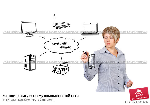 Женщина рисует схему компьютерной сети, фото 4505636, снято 21 октября 2012 г. (c) Виталий Китайко / Фотобанк Лори.