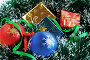 Красный и голубой шары, коробочки с подарками на ели, фото № 8352, снято 3 сентября 2006 г. (c) Ольга Красавина / Фотобанк Лори