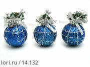 Купить «Три рождественских шара синего цвета с узором горизонтально», фото № 14132, снято 20 ноября 2006 г. (c) Александр Паррус / Фотобанк Лори