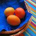 Квадратная открытка с пасхальными яйцами в плетенках на красочной фактуре, фото № 19624, снято 25 января 2007 г. (c) only / Фотобанк Лори