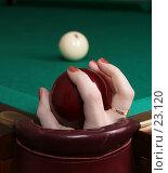 Купить «Бильярдный шар в женской руке», фото № 23120, снято 13 декабря 2006 г. (c) Vdovina Elena / Фотобанк Лори