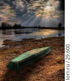 Купить «Лодка, лежащая на берегу реки», фото № 29600, снято 14 августа 2018 г. (c) Павел Преснов / Фотобанк Лори
