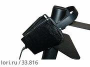 Купить «Черные наушники на черной стойке. Белый фон. Изолировано, Обтравлено», фото № 33816, снято 19 апреля 2007 г. (c) Golden_Tulip / Фотобанк Лори