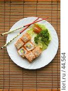Купить «Японское угощение — роллы», фото № 44564, снято 17 мая 2007 г. (c) Давид Мзареулян / Фотобанк Лори