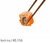 Купить «Ролл с лососем, тунцом, авокадо, икрой тобико», фото № 45116, снято 17 мая 2007 г. (c) Татьяна Белова / Фотобанк Лори
