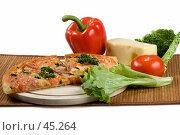 Купить «Пицца с сыром моццарелла, красным перцем, зеленью, колбасой и помидорами», фото № 45264, снято 17 мая 2007 г. (c) Татьяна Белова / Фотобанк Лори
