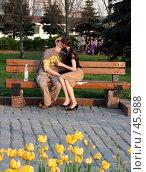 Купить «Поцелуи на скамейке в парке», эксклюзивное фото № 45988, снято 19 мая 2007 г. (c) Татьяна Белова / Фотобанк Лори