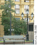 Купить «Скамейка на Манежной площади», эксклюзивное фото № 48948, снято 1 июня 2007 г. (c) Журавлев Андрей / Фотобанк Лори