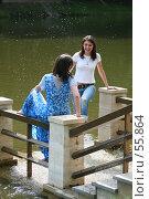 Купить «Девушки, брызгающиеся водой», фото № 55864, снято 24 июня 2007 г. (c) Сергей Лаврентьев / Фотобанк Лори