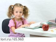 Купить «Девочка сидит за столом и листает книгу», фото № 65960, снято 28 июля 2007 г. (c) Ольга Красавина / Фотобанк Лори