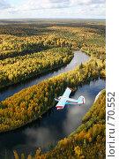 Купить «Ан-2. Самолет летит над осенней тайгой», фото № 70552, снято 16 сентября 2004 г. (c) Владимир Мельников / Фотобанк Лори