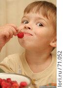 Купить «Эмоции ребенка который держит в руке малину», фото № 71052, снято 11 августа 2007 г. (c) Останина Екатерина / Фотобанк Лори