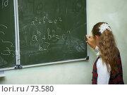 Купить «Девочка у доски пальцем стирает неправильную надпись», фото № 73580, снято 19 августа 2007 г. (c) Ирина Мойсеева / Фотобанк Лори