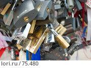 Замки, оставленные на «Дереве счастья», Москва, Лужков мост. Стоковое фото, фотограф Давид Мзареулян / Фотобанк Лори