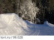 Купить «Зимняя дорога после прохода ратрака», фото № 98028, снято 12 февраля 2007 г. (c) Юрий Синицын / Фотобанк Лори