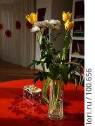 Купить «Букет цветов стоящих на красном столе в новом доме. Новоселье.», фото № 100656, снято 28 февраля 2005 г. (c) Harry / Фотобанк Лори