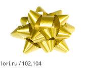 Купить «Украшение: золотой бант», фото № 102104, снято 11 декабря 2019 г. (c) Наталья Герасимова / Фотобанк Лори