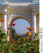 Оранжевые цветы на фоне проёма северной Триумфальной арки Новочеркасска (2006 год). Стоковое фото, фотограф Борис Панасюк / Фотобанк Лори