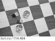 Купить «Игра в Кости, Кубики на Шахматной Доске, CRAPS, DICES on Chess Board», фото № 114484, снято 9 марта 2007 г. (c) Astroid / Фотобанк Лори