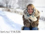 Купить «Девушка в теплый зимний день», фото № 114536, снято 21 февраля 2006 г. (c) Михаил Мандрыгин / Фотобанк Лори