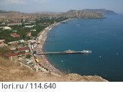 Купить «Вид на Судак и море из Судакской крепости», фото № 114640, снято 22 августа 2007 г. (c) АЛЕКСАНДР МИХЕИЧЕВ / Фотобанк Лори