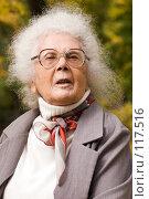 Купить «Портрет счастливой 85 летней старушки с седыми волосами», фото № 117516, снято 2 октября 2007 г. (c) Ольга Сапегина / Фотобанк Лори