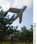 Купить «Батайск, реактивный самолет в сквере Авиаторов», фото № 117664, снято 22 сентября 2006 г. (c) Борис Панасюк / Фотобанк Лори