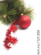 Купить «Красный  новогодний шар и сосновая ветка на белом фоне», фото № 121656, снято 31 октября 2007 г. (c) Останина Екатерина / Фотобанк Лори