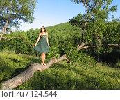 Девушка, стоящая на согнутом дереве. Стоковое фото, фотограф A.Козырева / Фотобанк Лори