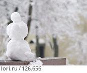 Купить «Маленький снеговик в городском дворике», фото № 126656, снято 16 ноября 2007 г. (c) Ольга Хорькова / Фотобанк Лори