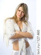 Купить «Девушка в костюме ангела», фото № 127460, снято 21 октября 2007 г. (c) Евгений Батраков / Фотобанк Лори