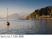 Закат в бухте Лавено на озере Maggiore в Италии: лодки, водоплавающие птицы, домики среди осенних деревьев на холме. Стоковое фото, фотограф Влада Посадская / Фотобанк Лори