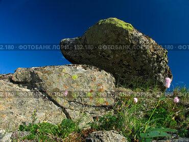 Купить «Плато Путорана. Валун в тундре», фото № 132180, снято 23 июля 2004 г. (c) Serg Zastavkin / Фотобанк Лори