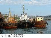 Купить «Три корабля у пристани», фото № 133776, снято 16 июля 2006 г. (c) Николаенко Алексей / Фотобанк Лори