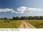 Купить «Поле. Голубое небо с белыми облаками.», фото № 141612, снято 24 июня 2007 г. (c) Катыкин Сергей / Фотобанк Лори