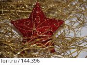Купить «Золотистая ветка с красной звездой», фото № 144396, снято 10 декабря 2007 г. (c) Елена Бринюк / Фотобанк Лори