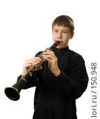 Купить «Портрет кларнетиста», фото № 150948, снято 16 декабря 2007 г. (c) Сергей Лаврентьев / Фотобанк Лори