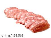 Купить «Ломтики колбасы», фото № 151568, снято 24 сентября 2018 г. (c) Угоренков Александр / Фотобанк Лори