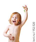 Купить «Девочка с конфетами на белом фоне», фото № 152520, снято 4 декабря 2007 г. (c) Майя Крученкова / Фотобанк Лори