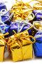 Подарки, завернутые в блестящую бумагу, фото № 158988, снято 20 августа 2017 г. (c) Роман Сигаев / Фотобанк Лори