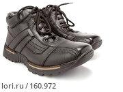 Купить «Пара мужских черных зимних ботинок со шнурками», фото № 160972, снято 26 ноября 2006 г. (c) Александр Паррус / Фотобанк Лори