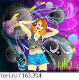 Девушка в наушниках слушает музыку. Стоковая иллюстрация, иллюстратор Цепков Андрей / Фотобанк Лори
