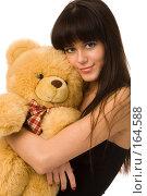 Купить «Девушка с плюшевым медведем», фото № 164588, снято 22 декабря 2007 г. (c) Валентин Мосичев / Фотобанк Лори